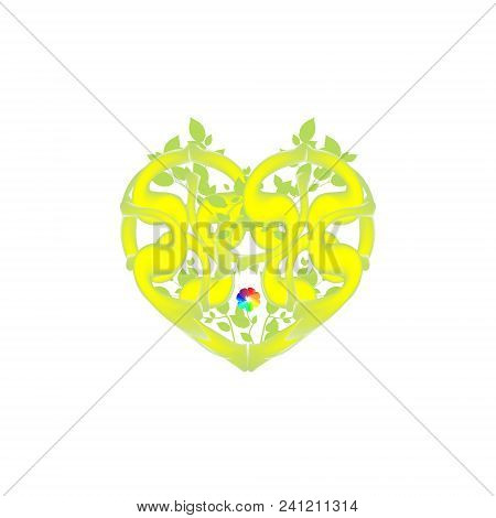 Abstract Heart Of Twisting Vines, Foliage And Flower. Green Leaves Vector For Valentine S Day. Symbo