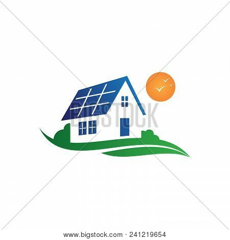 Illustration Solar House Save Energy Power And Natural Electricity Solar Battery. Recycling Energy T