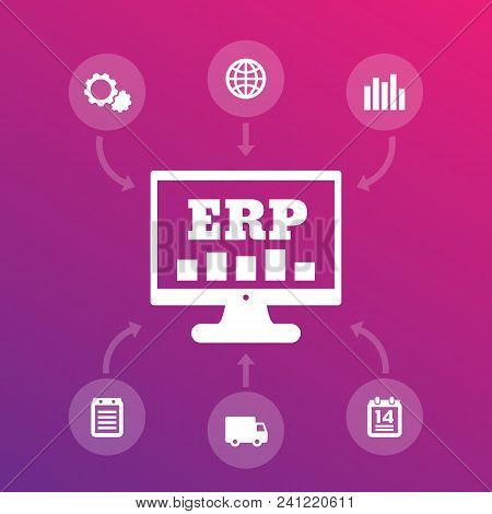 Erp System Icons, Enterprise Resource Planning, Eps 10 File, Easy To Edit