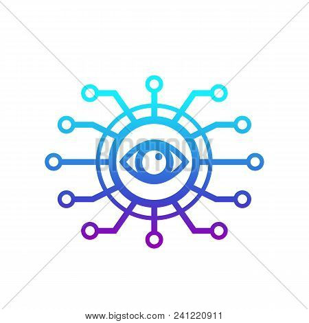 Machine Vision, Computer Visual Recognition System Icon, Eps 10 File, Easy To Edit