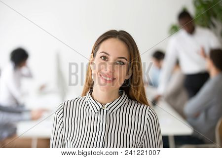 Attractive Woman Business Leader Smiling Looking At Camera Headshot Portrait, Beautiful Elegant Busi
