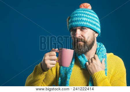 Bearded Man Warming Up With Hot Tea In Winter Time. Stylish Man With Beard And Mustache Drinking Hot