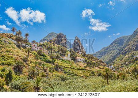 La Gomera Island Cliffs Sunny Landscape, Canary Islands, Spain.