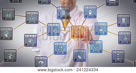 Unrecognizable Pharmaceutical Scientist Managing Drug Supply Chain Via Dlt Application. Pharma Infor