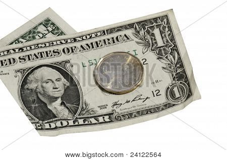 Usd Bill And Cnd (loonie) With Clipping Path