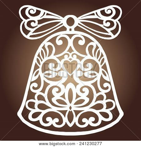 Laser Cut Paper Christmas Bell Decoration Vector Design. Merry Christmas Greeting Card. Christmas Be