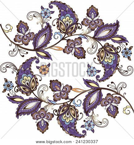 East Ornament, India, Persia Paisley Vector Illustration