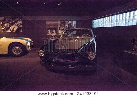 Naples, Florida, Usa - May 5, 2018:  Black 1952 Cunningham C-3 Continental Coupe Displayed At The Re