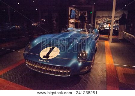 Naples, Florida, Usa - May 5, 2018:  Blue 1956 Chevrolet Corvette Super Sport Ss  Displayed At The R