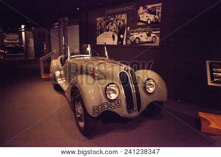 Naples, Florida, Usa - May 5, 2018:  Grey 1938 Bmw Type 328 Displayed At The Revs Institute In Naple