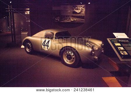 Naples, Florida, Usa - May 5, 2018:  Silver 1949 Porsche 356sl Gmund Coupe Displayed At The Revs Ins