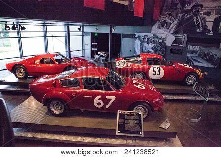 Naples, Florida, Usa - May 5, 2018:  Three Race Cars, A 1964 Abarth Simca, Alfa Romeo And Porsche  D
