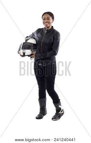 Confident Strong Black Female Holding A Helmet As A Race Car Driver, Motorcycle Biker Or A Stuntwoma