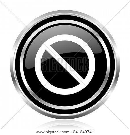 Access denied black silver metallic chrome border glossy round web icon