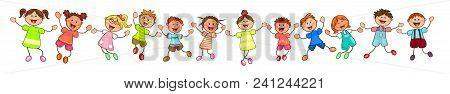 Group Of Cheerful, Smiling Children On A White Background. Cartoon Joyful Children.