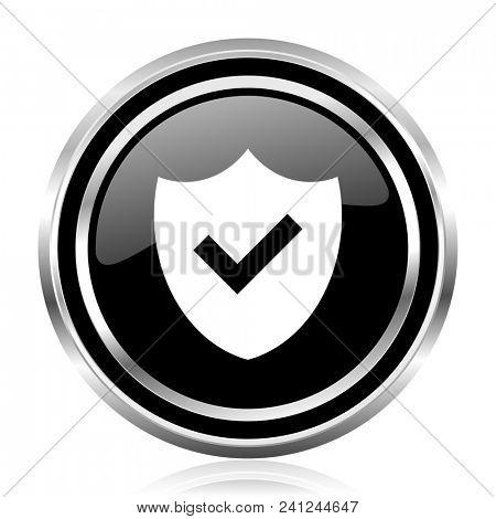 Shield black silver metallic chrome border glossy round web icon