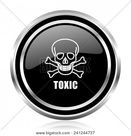 Toxic skull black silver metallic chrome border glossy round web icon