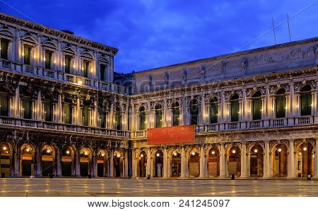 The Picturesque National Library Of St Mark's And Museo Correr On Piazza St Marco Or Saint Mark's Sq