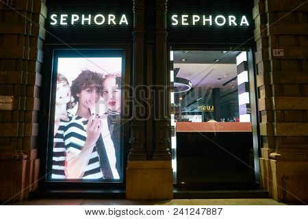 MILAN, ITALY - CIRCA NOVEMBER, 2017: Sephora store in Milan. Sephora is a French chain of cosmetics stores.