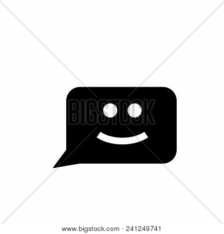 Chat Smile Vector Icon On White Background. Chat Smile Modern Icon For Graphic And Web Design. Chat