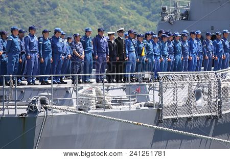 Kyoto Japan - May 05, 2018: Unidentified Navy Soldiers Stand In Line On Navy Warship In Maizuru Port