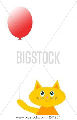 Cartoon Cat With Balloon