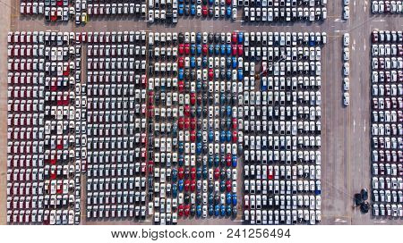 New Cars From The Car Factory Parked At The Port Waiting For Export To The Country As Ordered.