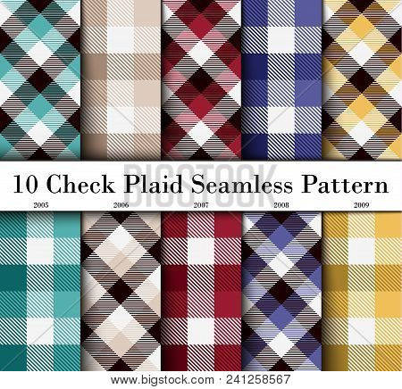 Set 10 Check Plaid Seamless Pattern In  Green, Beige, Claret Red, Violet And Yellow Colors. Template