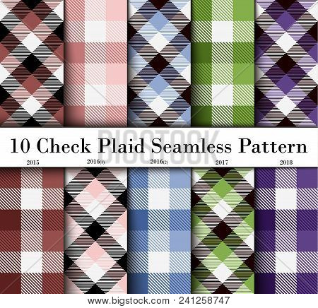 Set 10 Check Plaid Seamless Pattern In  Brown, Pink, Blue, Green And Purple. Template For Clothing F