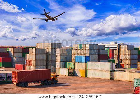 Business Logistics Concept, Logistics And Transportation Of Container Cargo Ship And Cargo Plane Log