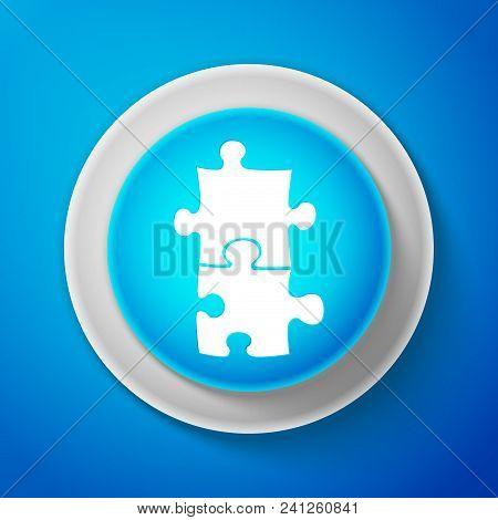 White Piece Of Puzzle Icon Isolated On Blue Background. Modern Flat, Business, Marketing, Finance, I
