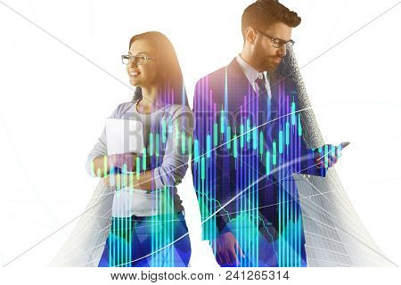 Portrait Of Attractive Young European Businessman And Woman Using Devices On Abstract City Backgroun