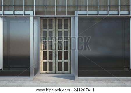 Glass Storefront Exterior With Copy Space. Fashion And Ad Concept. Mock Up, 3d Rendering