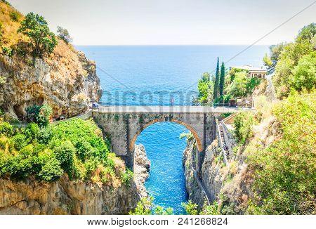 Famous Picturesque Road Viaduct Of Amalfitana Summer Coast, Italy Toned Image