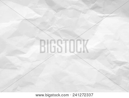 Crumpled Paper Texture. White Battered Paper Background. White Empty Leaf Of Crumpled Paper. Torn Su