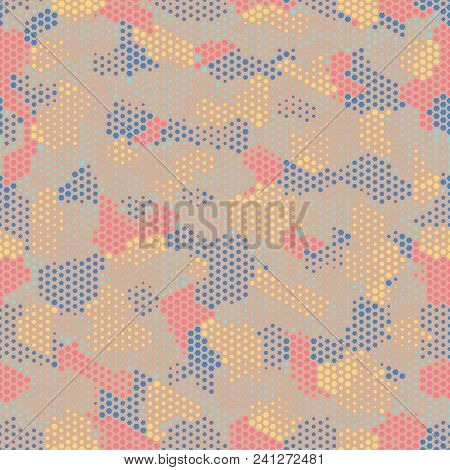 Camouflage Seamless Fashion Pattern. Abstract Urban Colorful Hexagon Style. Seamless Pattern For Par