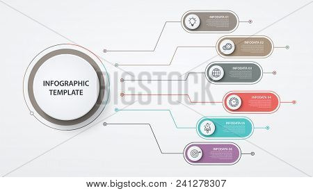 Infographics Circles 6 Options Or Steps. Business Concept, Block Diagram, Information Graph, Pie Cha