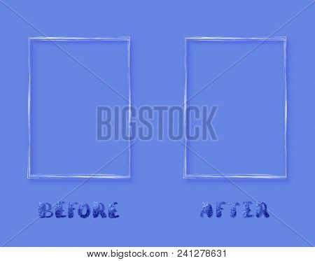 Before And After Horizontal Card. Comparison Banner With Empty Space. Template For Graphic Design. V