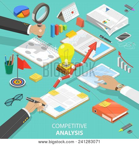 Flat Isometric Vector Concept Of Competitive Analysis, Company Marketing Plan, Competitors Evaluatin