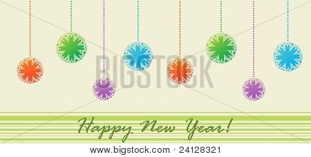 Postcard with Christmas balls (Happy New Year)