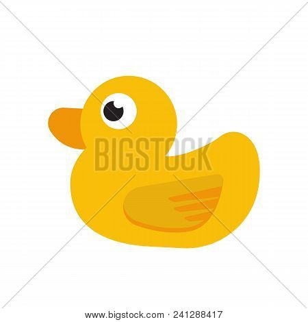 Duck Toy Isolated On White Background. Vector Stock.