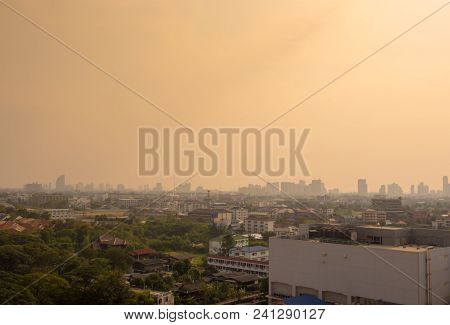 Bangkok City Downtown Cityscape Urban Skyline In The Mist Or Smog. Wide And High View Image Of Bangk