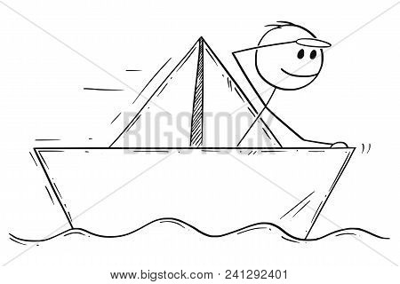 Cartoon Stick Man Drawing Conceptual Illustration Of Businessman Sailing Paper Ship Or Boat. Busines