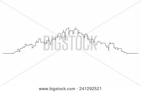 Artistic Pen And Ink Drawing Illustration Of Generic City High Rise Skyline With Skyscraper Building