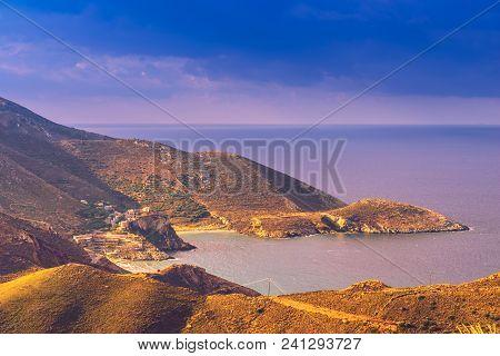 Greece Mani Peninsula. Sea Landscape Rocky Coastline With Old Stone Tower Houses, Peloponnese.
