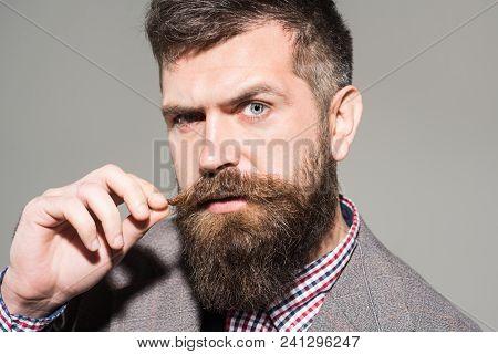 Pensive Man In Retro Clothes. Vintage Fashion - Man In Suit. Bearded Man In Stylish Retro Clothes. E