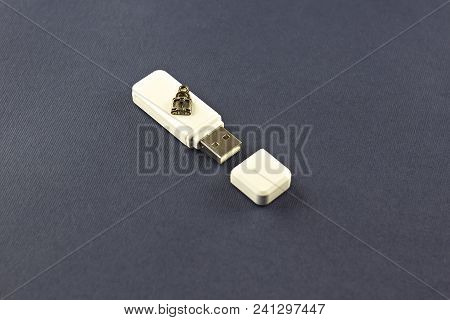 White Flash Drive On A Blue Background With A Lock