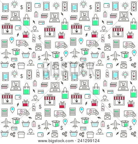 Seamless Pattern With Online Shopping Icons In Thin Line Style. Collection Of Line Web Icons Of Inte