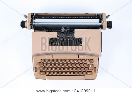 Old Vintage Typewriter Isolated On A White Background