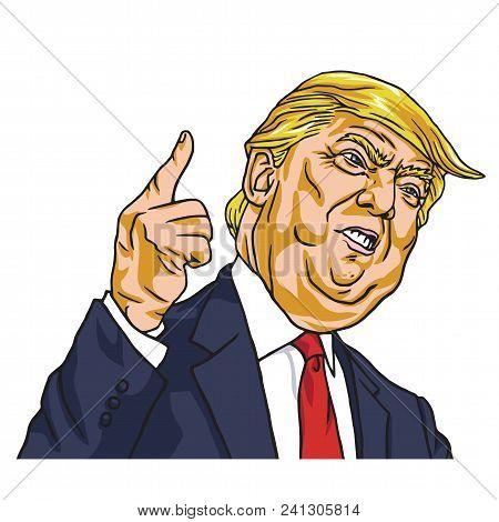 Donald Trump. You`re Fired! Cartoon Vector. May 19, 2017